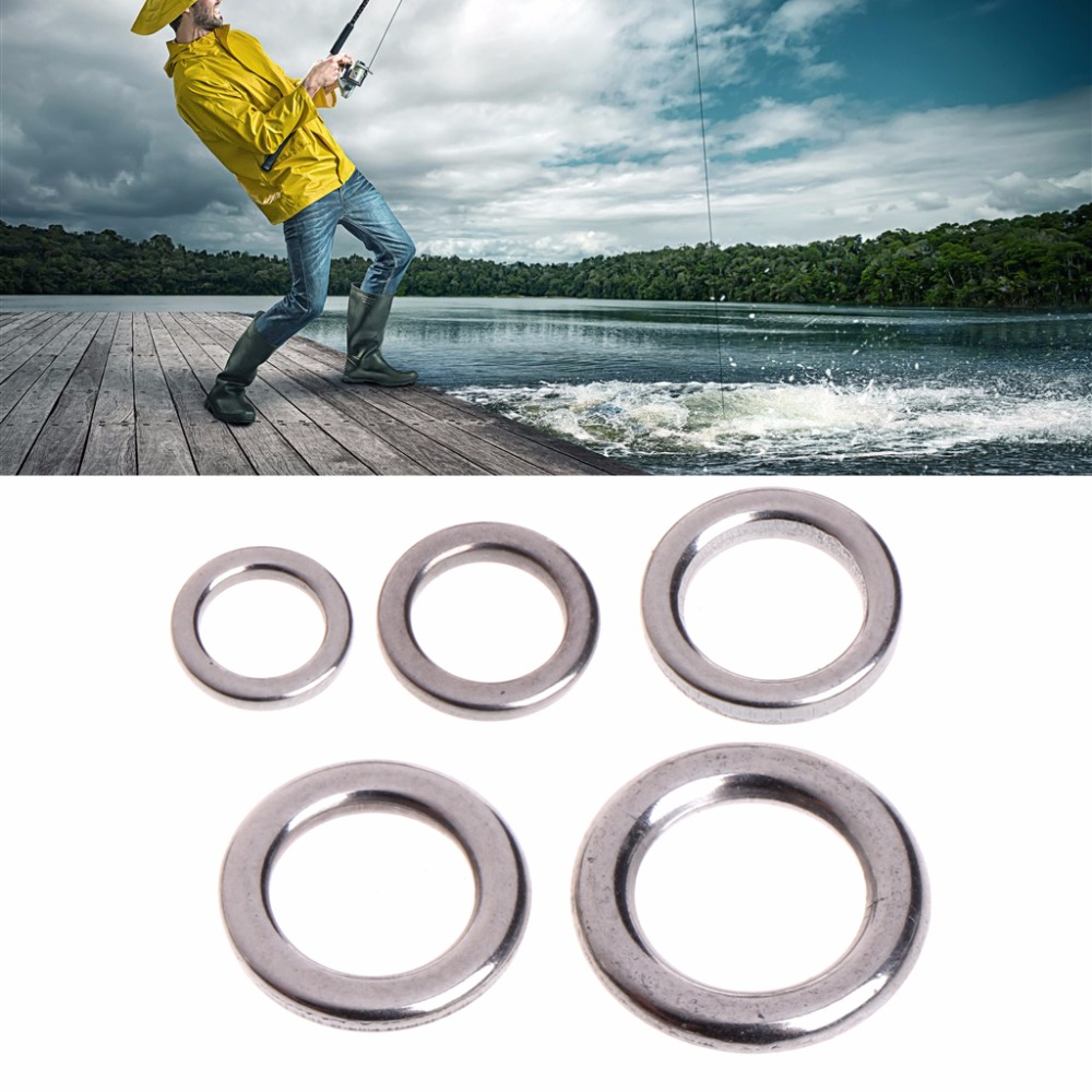 100Pcs Fishing Solid Stainless Steel Snap Split Ring Lure Tackle Connector Lot