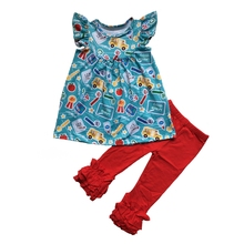 back to school outfit flutter sleeve dress ruffle pants  girls clothing set