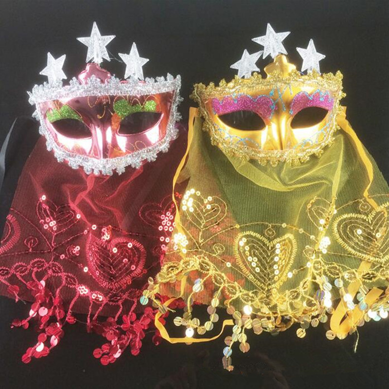 Women Masquerade Lighting Flashing Star Mask Veil Venice Princess Masks For Dance Party Supplies Christmas New Year