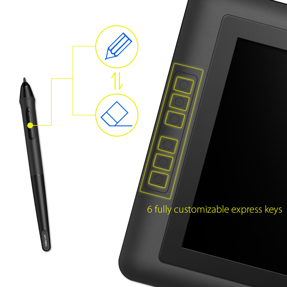 XP-Stylo Artist15.6 tablette de dessin Graphique moniteur Numérique Stylo Affichage Graphique avec 8192 Stylo Pression 178 degré de l'angle visuel - 2