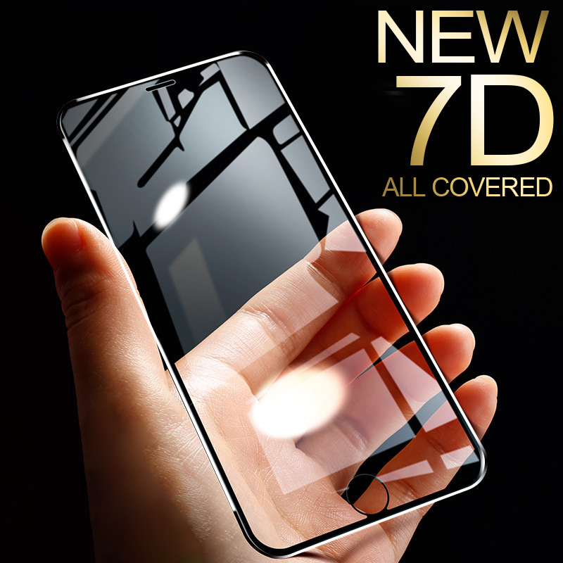 7D Aluminum Alloy Tempered Glass For iPhone 6 6S 7 Plus Full Screen Protector Protective On The For iPhone X 8 5 SE 5S Glass(China)
