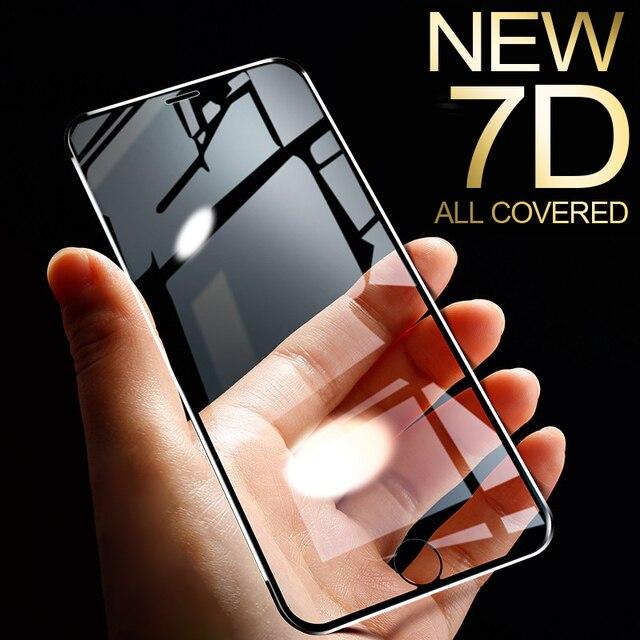 7D سبائك الألومنيوم الزجاج المقسى آيفون 6 6S 7 Plus حامي الشاشة الكاملة واقية على آيفون X Xs 11 برو ماكس Xr SE
