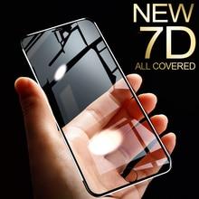 Protector de pantalla de aleación de aluminio 7D para iPhone, Protector de pantalla completo de vidrio templado para iPhone 6 6S 7 Plus X Xs 11 Pro Max Xr SE