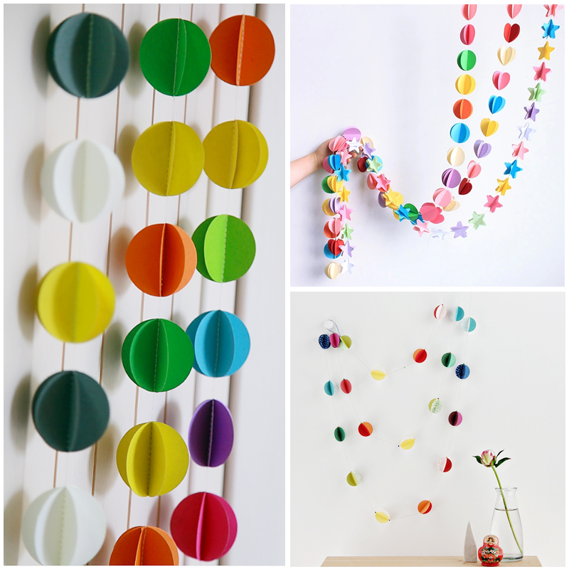 2pcs 3D 다채로운 종이 작은 동그라미 갈 랜드 홈 장식 종이 장식 결혼 방 키즈 룸 어린이 룸 DIY