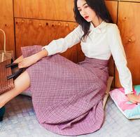 High Quality 2018 Autumn New Arrival Sweet Bow Flower Embroider Color Block Ruffles Woman Cotton Long Dress