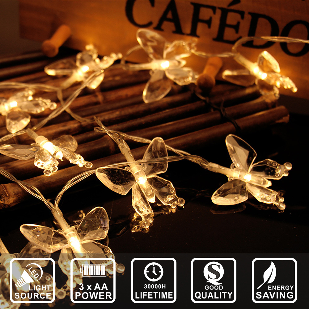 LED string light butterfly shape decoration new year festival party home decoration light 2.2M 20 LED battery IY310139