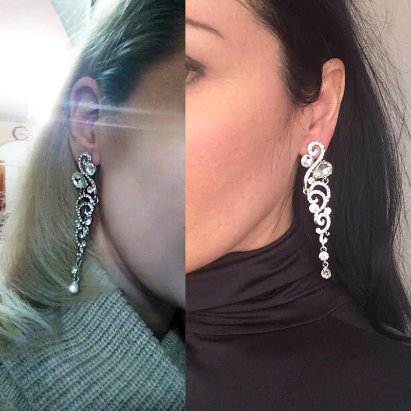 OCESRIO 8 Colors Luxury Crystal Wedding Earrings for Bridesmaid Silver Long Earrings for Women Bridal Fashion Jewelry ers-h69
