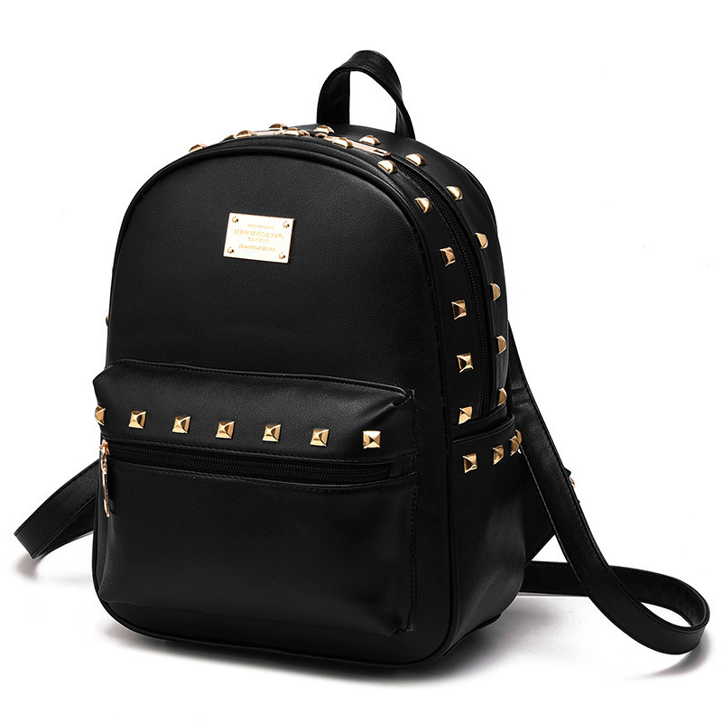 women backpack zipper rivet fashion pu leather polyester White sapphire blue and green sac a main