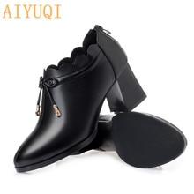 Купить с кэшбэком AIYUQI Women shoes high heel luxury brand 2019 spring new genuine leather women shoes, square head fashion dress shoes women