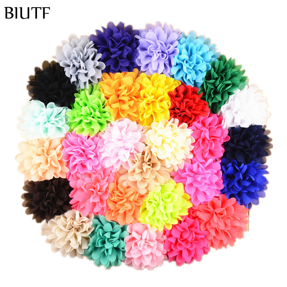 420pcs lot 31 color 10cm Big Chiffon Hair Flowers For girls Hot Sale Flowers Without Clips
