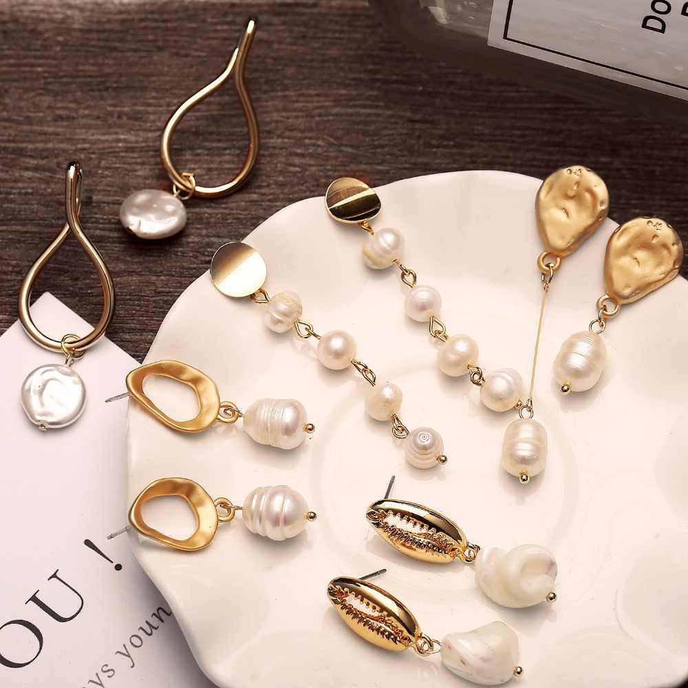 Vintage Long Earrings With Pearl Irregular Trendy Natural Freshwater Pearl Drop Korean Earring For Women Jewelry Gifts Brincos