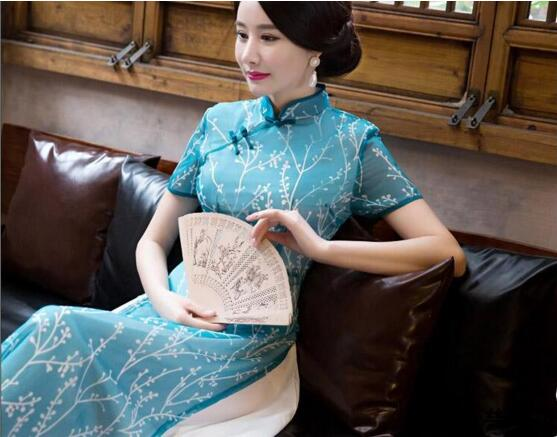 2017 été ao dai cheongsam folk style vietnam robes large jambe - Vêtements nationaux - Photo 6