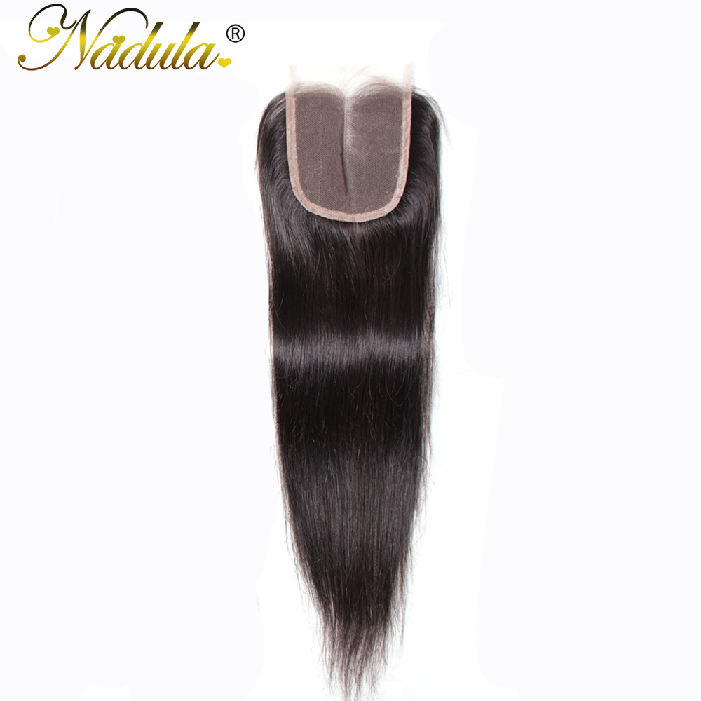 Nadula Hair 4x4 Middle Part Closure Indian Straight Hair Natural Extensions Non-Remy Hair 10-20Inch Swiss Lace Closure