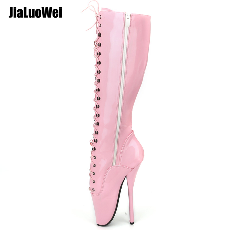 """jialuowei女性18 cm / 7 """"スパイクハイヒールのセクシーなフェチバレットブラックロングブーツレースアップBDSMプラスサイズユニセックスブーツプラスサイズ"""