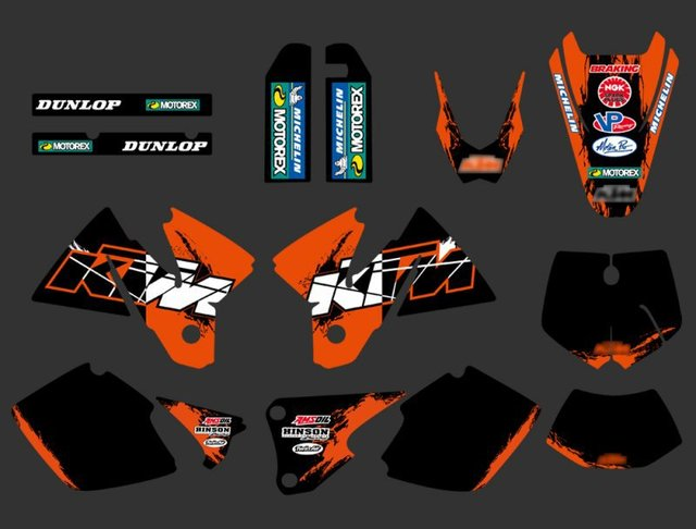 0262 NEW TEAM GRAPHICS WITH MATCHING BACKGROUNDS FIT FOR KTM EXC 125 200 250 300 380 400 1998 1999 2000 FULL SIZE MODELS