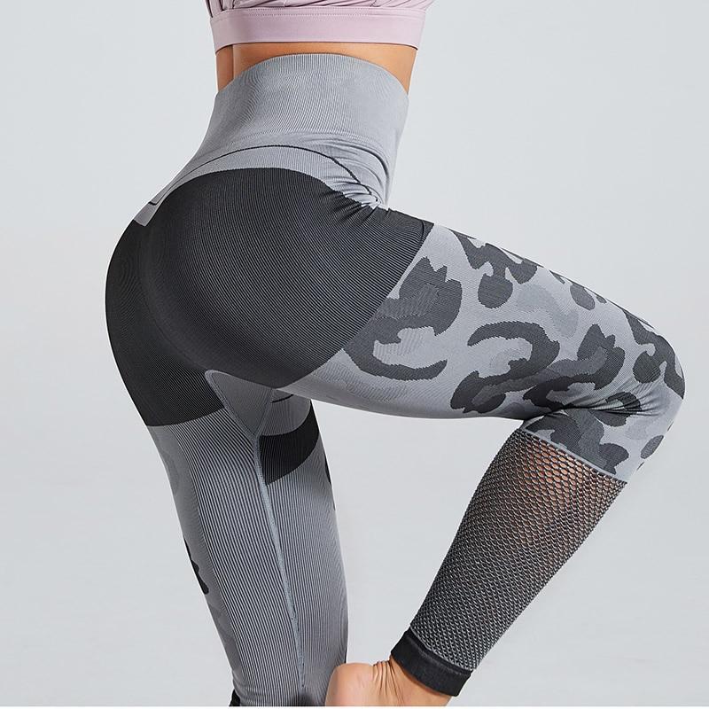 Sexy Women Sport Running Leggings Sexy Mesh Knitted Gym Leggins High Waist Skinny Pants Camouflage Seamless Leggings For Women