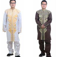 Free Shipping Africa S Richest Man Costume Bazin Embroidery Design Dashiki Style 100 Cotton Bazin