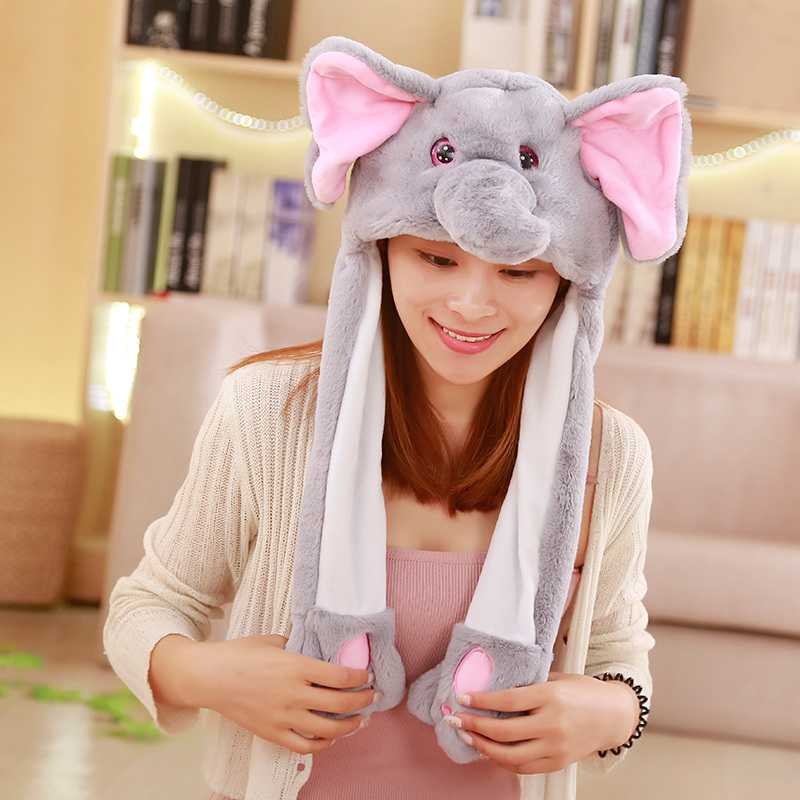 New Attractive Moving Ear Cute Animal Plush Hat Funny Playtoy Ear Up Down Rabbit Dog Pig Gift Toy For Kids Girls