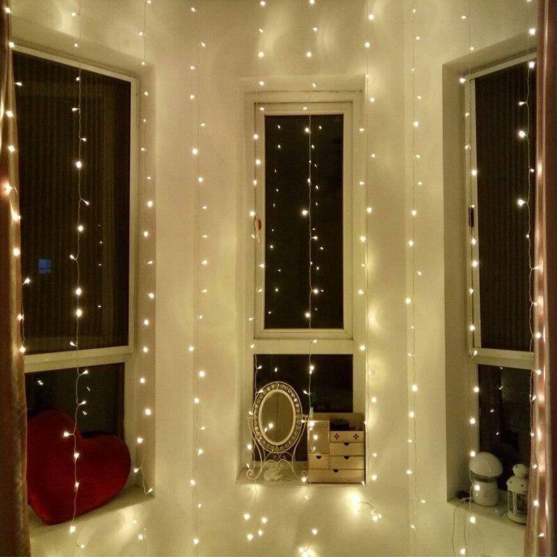 3Mx3M 300LED icicle curtain string lights fairy lights Christmas wedding family garden party decoration US EU US plug