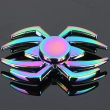 ใหม่ผู้ใหญ่ของขวัญแมงมุมที่มีสีสันมือเหยื่อโลหะอยู่ไม่สุขปินเนอร์สำหรับออทิสติกสมาธิสั้นเด็กSpiner Tri-นิ้วของเล่นอยู่ไม่สุขความเครียดเย็น