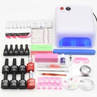 Nail Art Set 36W UV Lamp 6 Color 10ml Soak Off Nail Gel Base Top Coat