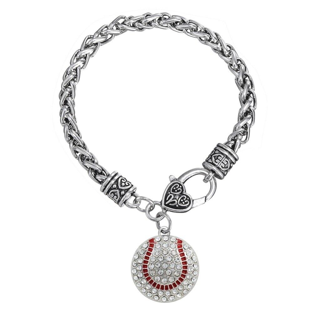 Skyrim Round Rhinestones Baseball Softball Charm Bracelet Love Gift  Beautiful Zinc Alloy High Quality Bracelet Jewelry
