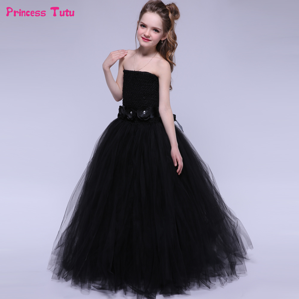 Black Kids Tutu Dresses for Girls Children Birthday Halloween Dress Girl Costumes Ribbons Tulle Princess Flower Girl Party Dress ariel inspired girls tutu dress tulle princess little mermai cosplay tutu dresses for girls kids halloween party costumes 2 12y