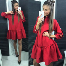 Women Vintage Beading Pearls Ruffled Party Dress Long Sleeve A line Solid Casual Dress 2018 Spring Plus Size Fashion Women Dress
