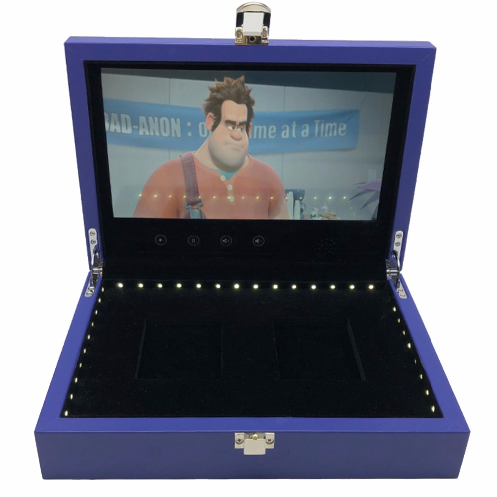 free shipping wood box video Brochure 7inch Universal Video Greeting Card 4GB watching booklet box for