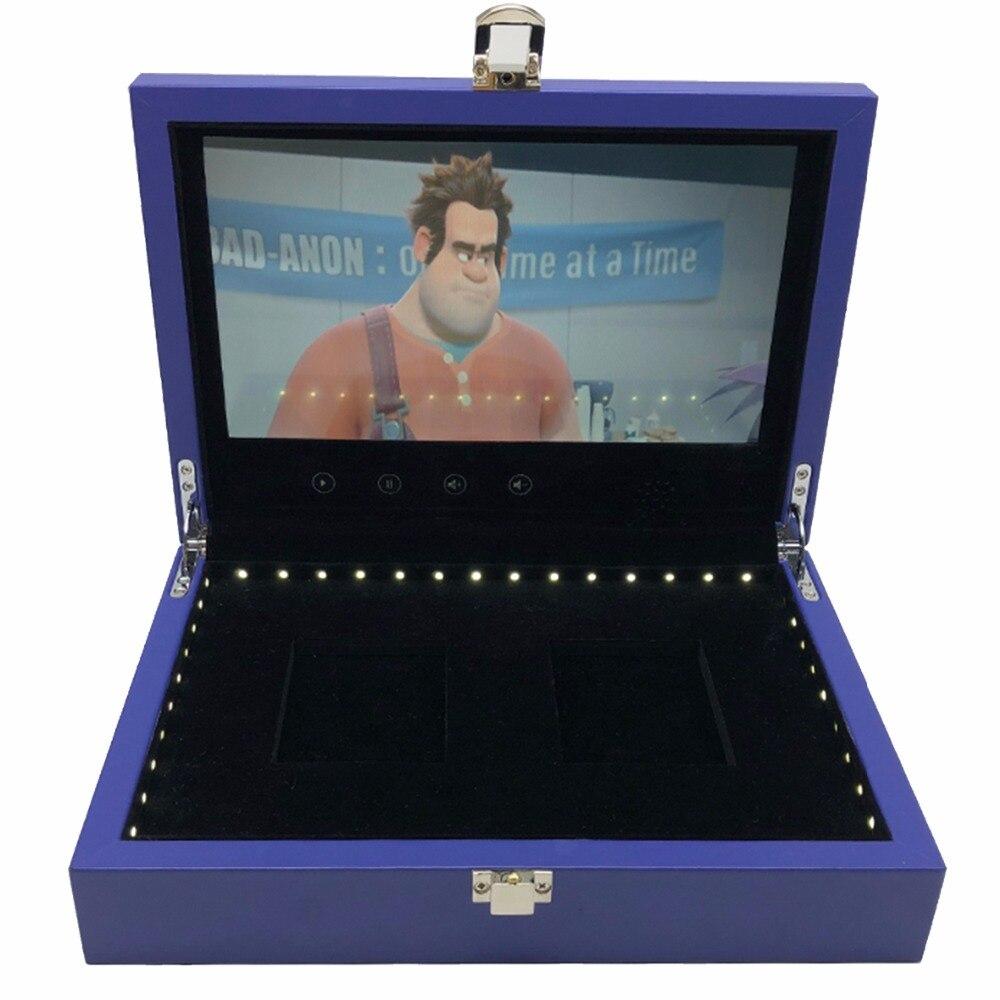 Envío Gratis caja de madera video folleto 7 pulgadas Universal Video tarjeta de felicitación 4 GB Ver Caja de folletos para publicidad negocios-in Reproductor de MP4 from Productos electrónicos    1