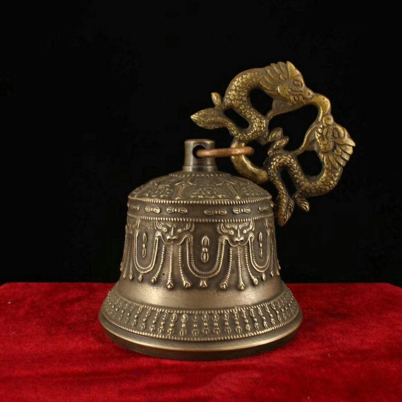 Свадебное украшение 6 Коллекционный Тибетский буддистский храм медная Статуэтка бронзового дракона висячий колокольчик Chung