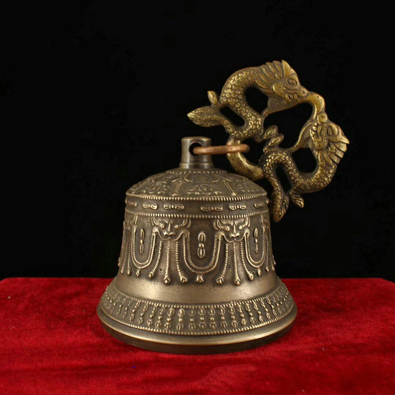 wedding decoration 6 Collect Tibet Buddhism Temple Copper Bronze Dragon Statue Hanging Bell Chung