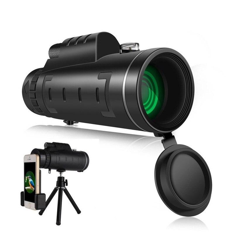 Doble foco 40x60 telescopio Monocular gran angular lupa telescopio con lente de teléfono cubierta de polvo brújula para iPhone 8 X Samsung