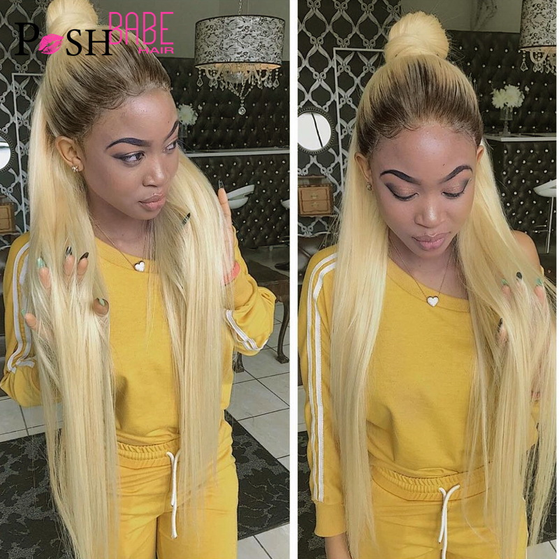 Ombre 1B 613 Straight Lace Front Wig Full Human Hair Glueless Indian Blonde Color Pre Plucked With Baby Hair Wig For Black Women