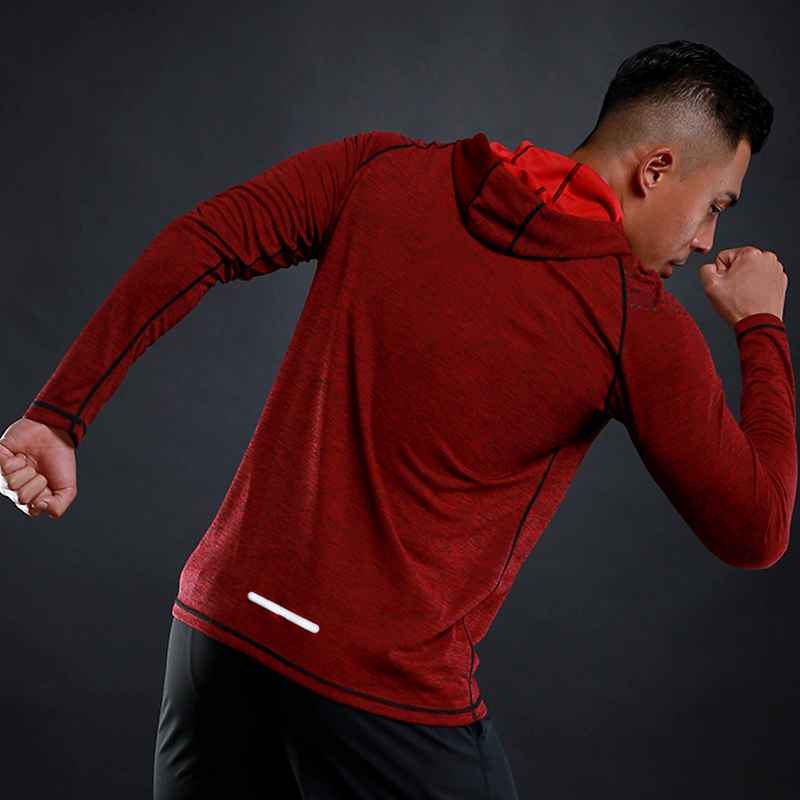 Image 2 - Running T shirt Men Long Sleeve Hooded Rashgard Thin Gym Shirts Fitness Training T shirt Quick Dry Breathable Sports Clothing-in Running T-Shirts from Sports & Entertainment on AliExpress