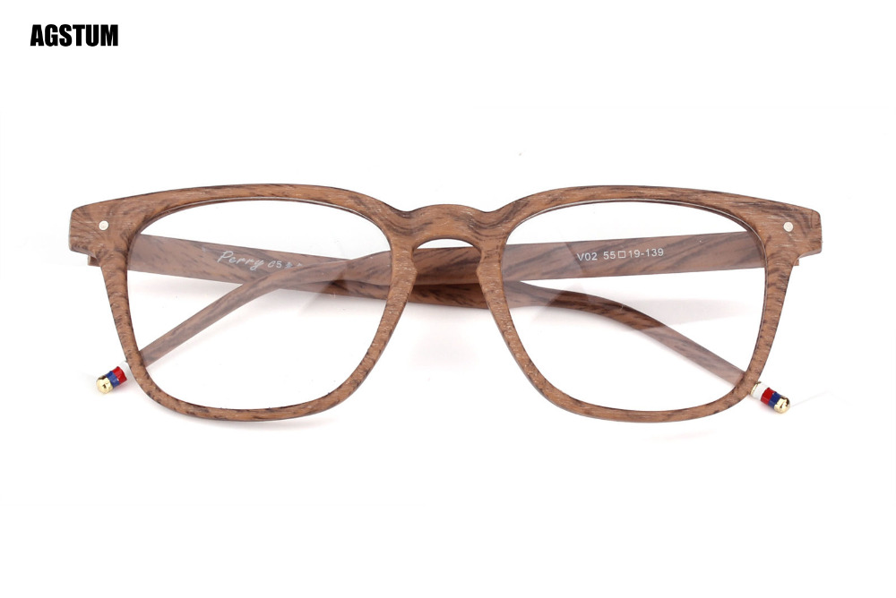 Wood Stripes Square Unisex Glasses Classic Retro Eyeglasses Frame Clear Lens Rx