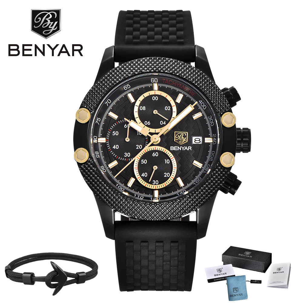 BENYAR Luxury Brand Mens Watches Reloj Hombre Sport Chronograph Fashion Waterproof Quartz Watch Clock Men Relogio Masculino original usb charging dock charger port flex cable for iphone 7 high quality headphone audio jack connector flex cable