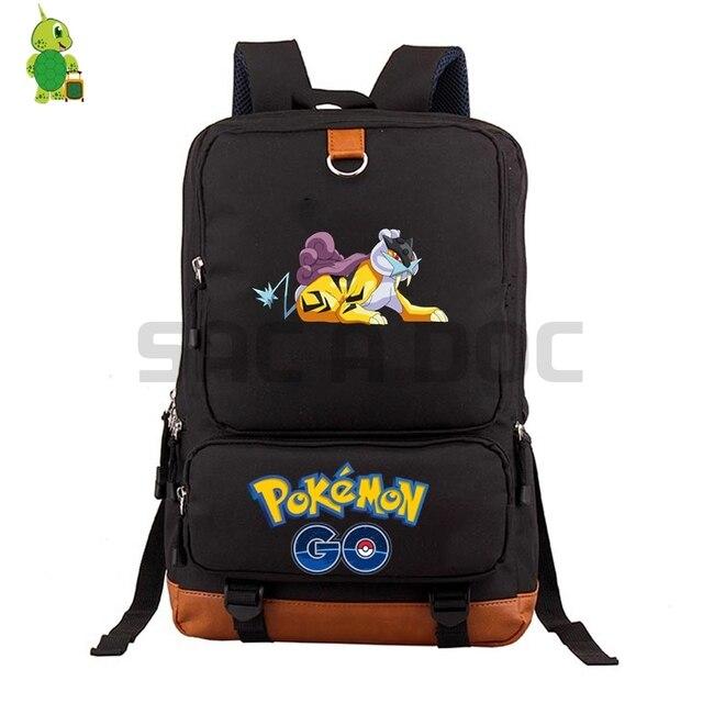 6e2013e41bc8 Pokemon Go Raikou School Bag Women Men Laptop Backpack for Teenage Boys  Girls Daily Backpack Large