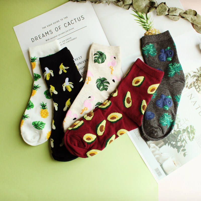 Cute Jacquard/Plants Printing Pattern Art   Socks   Women Korean Animal/Fruit   Socks   Funny   Socks   Kawaii Sokken Calcetines Meias