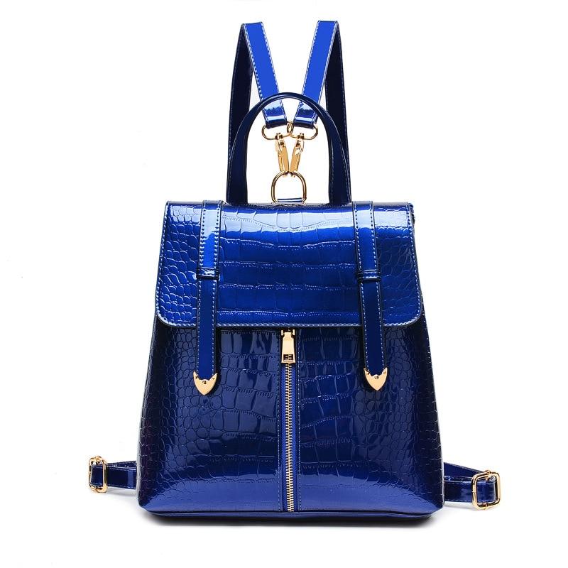 ФОТО New 2017 Crocodile Woman Backpack Fashion Patent Leather Bag Backpack Women Casual Brand Creative Female Backpack