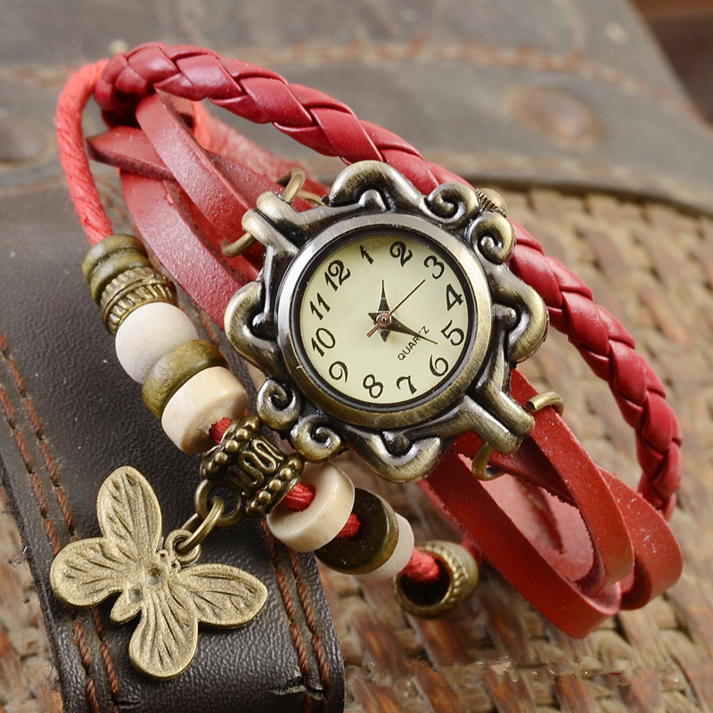 Bracelet Wrist-Watch Dreamcatche Faux-Leather Handmade Butterfly Vintage Ladies Braided