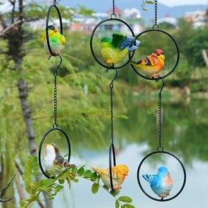 10 Style Animal Bird Garden Design Landscape Sculpture Festival Decor Ornament Figurine with Iron Ring Cute Bird Resin Crafts(China)