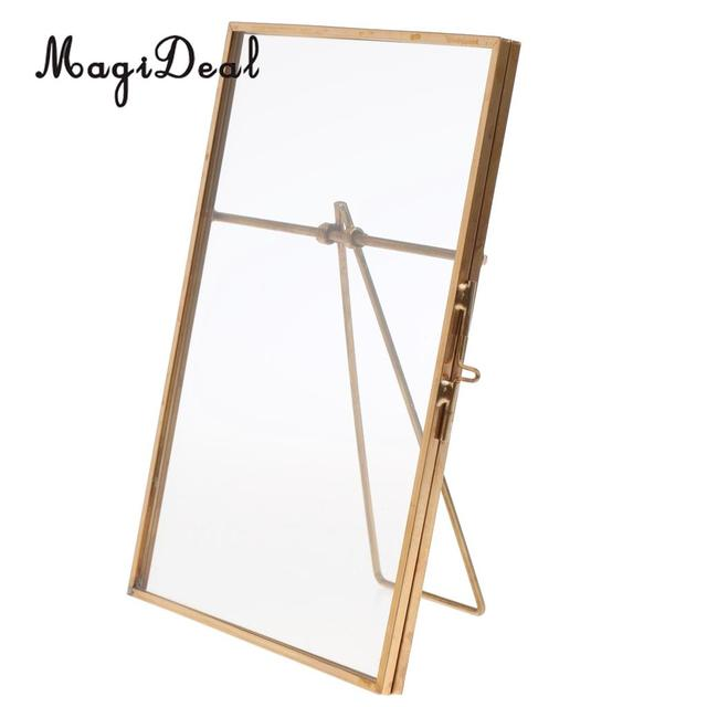 MagiDeal Metal & Glass Freestanding Photo Picture Frame Portrait ...