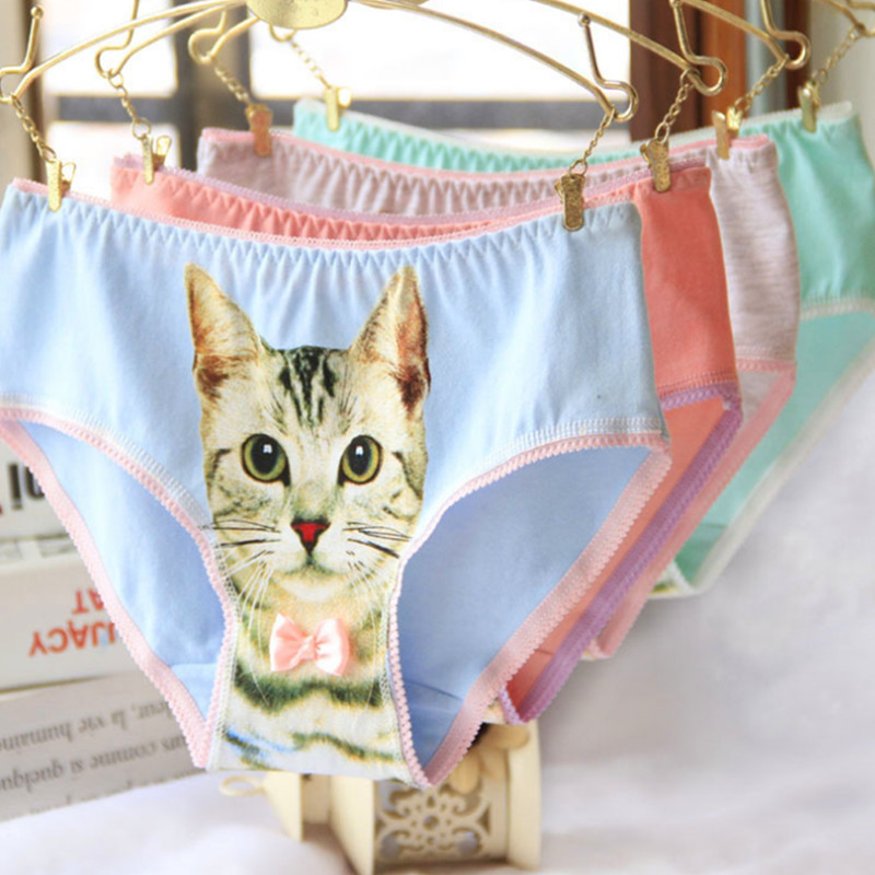 <font><b>Sexy</b></font> Cats <font><b>3D</b></font> Cats Pattern Cotton Briefs Personality <font><b>Cartoon</b></font> Cats Ladies Panties Underwear Cotton Cats Panty Fashion Female Brief image