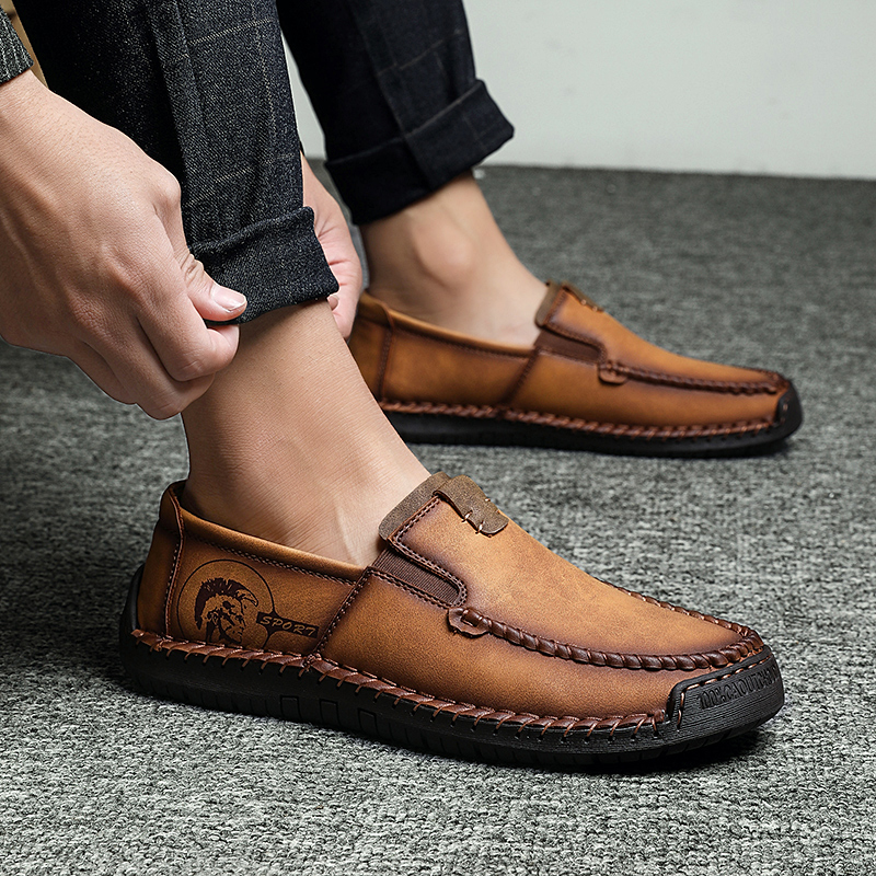 2019 New Casual Shoes Men Fashion Style Leather Shoes Men Handmade Vintage Loafers Men Moccasins Flats Loafers HC-206(China)