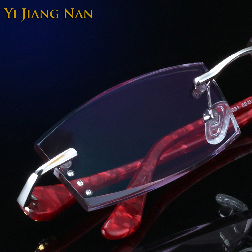 Yi Jiang Nan Brand Fashion Rimless Titanium Eyeglasses Women Tint Lenses Prescription Glasses Frame with Stones
