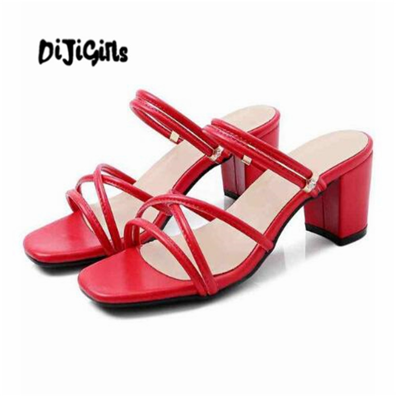 DIJIGIRLS vintage sandals women open toe outside slippers women thick high heel gladiator model daily wear summer mules L60 wwd women s wear daily 2012 11 26