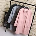 Осень Случайные Женщины Пальто Плюс Размер Женской Одежды С Длинным Рукавом Два кармана Моды Верхняя Одежда 997