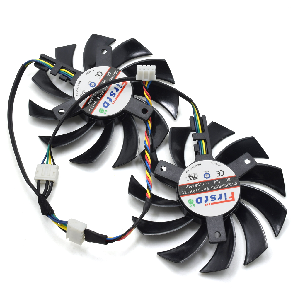 75MM FirstD FD7010H12S DC 12V 0.35A VGA Frameless Cooler Fan Replacement For ASUS Sapphire HD6930 HD7850 Graphics Card Fans personal computer graphics cards fan cooler replacements fit for pc graphics cards cooling fan 12v 0 1a graphic fan