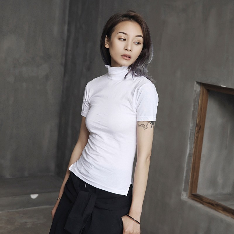[EAM] Women White Brief Vent Cool High Elastic T-shirt New Turtleneck Short Sleeve  Fashion Tide  Spring Summer 2020 JL447 6